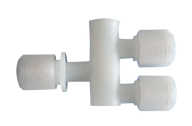 4mm Threaded Three-way Tube Fitting for 3 x 4mm Tube.