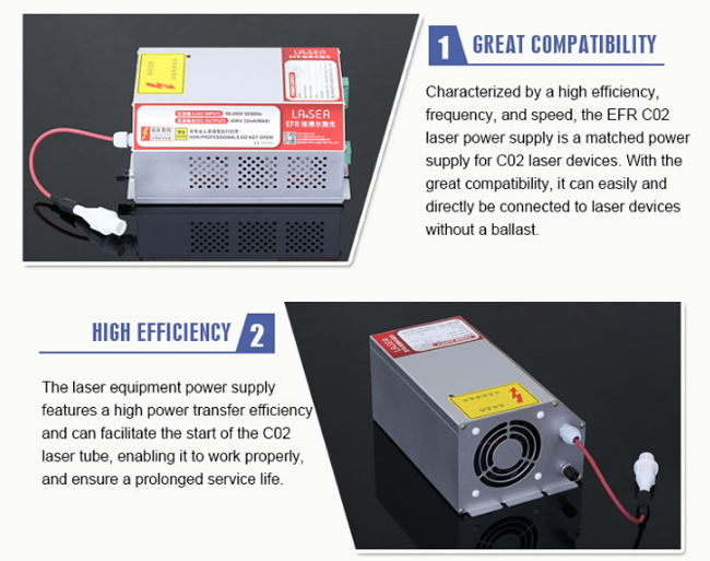 EFR F2, ZS1250 CO2 Laser Tubes Power Supply / Power Source with PFC Function, 90V-250V