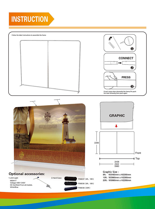 High Quality Portable Tension Fabric Exhibition Stand Backdrop Advertising Wall Banner (Graphic Included/Single Sided)