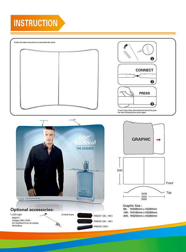 Curved High Quality Portable Tension Fabric Exhibition Stand Backdrop Advertising Wall Banner