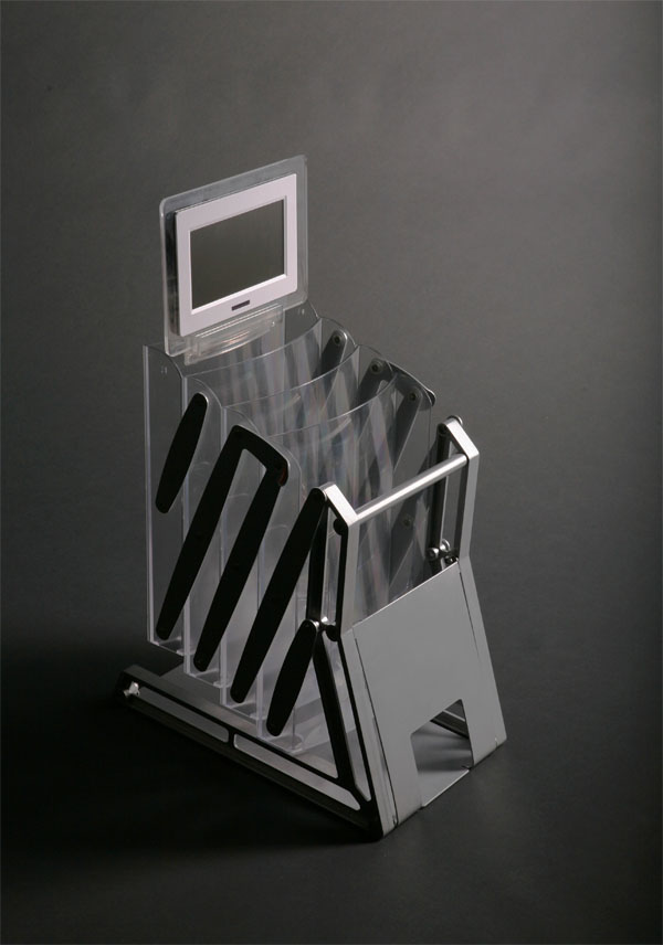 Folding Brochure Stand with LED Message Board Holder